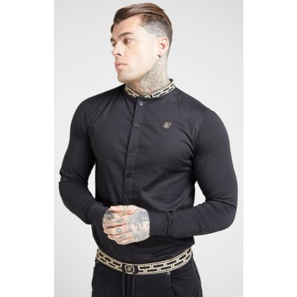 siksilk l s tape collar shirt black gold p4076 36509 medium