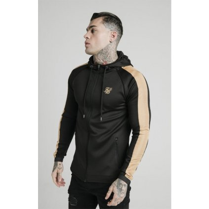 siksilk scope satin zip through hoodie black gold p4038 41950 medium