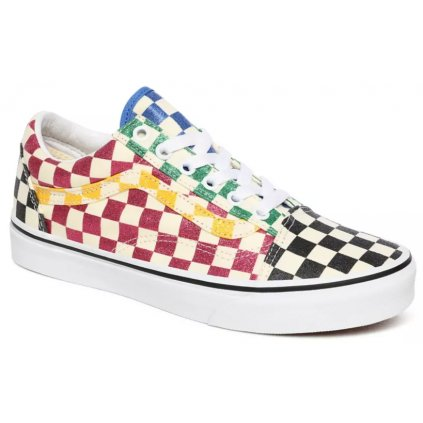 Tenisky Vans Old Skool glitter check multi/true white
