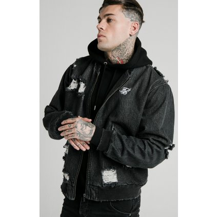 Pánska bunda SikSilk Distressed Denim Bomber Jacket