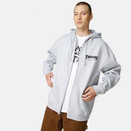Pánska sivá mikina Thrasher Logo zip Grey