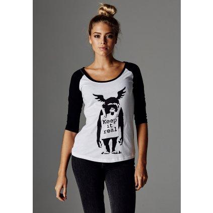 Dámske tričko MR.TEE Banksys Graffiti Ape Raglan