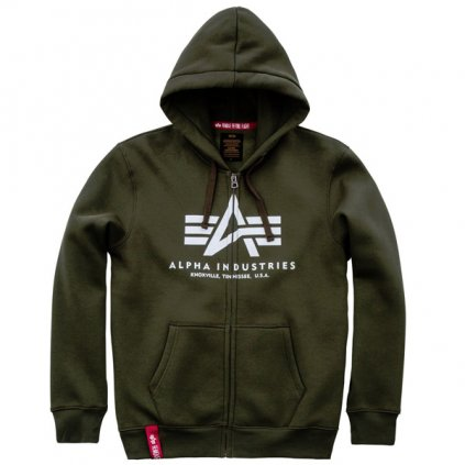 alpha industries basic zip hoody dark green 50299