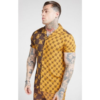 siksilk s s resort shirt tan brown p4503 41964 medium
