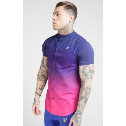 siksilk s s fade grandad shirt navy neon fade p4150 37172 medium