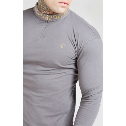 siksilk l s chain rib collar cuff polo grey p4009 39173 medium