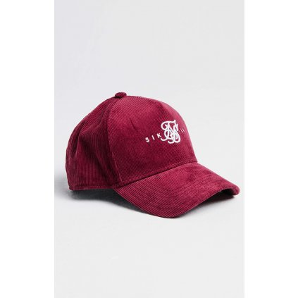Šiltovka SikSilk Full Cord Trucker burgundy