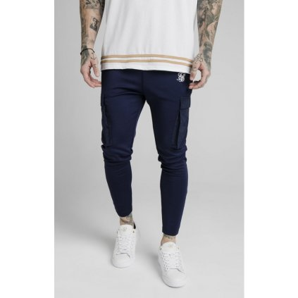 siksilk crushed nylon cargo pants navy p5056 48300 medium