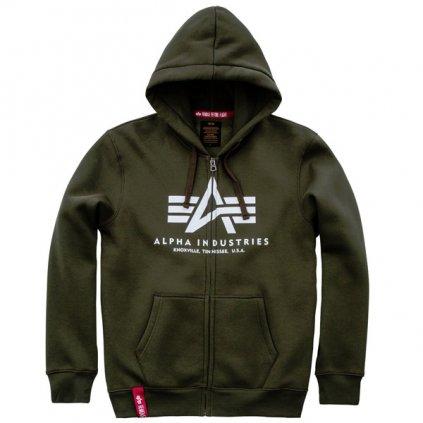 alpha industries basic zip hoody dark green 50299