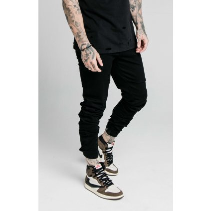 Pánske rifle SikSilk Elasticated Strap Cuff Denim