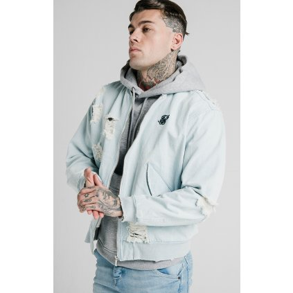 Pánska bombera SikSilk Distressed Denim Bomber