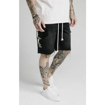 siksilk loose fit denim shorts washed black p5130 49388 medium