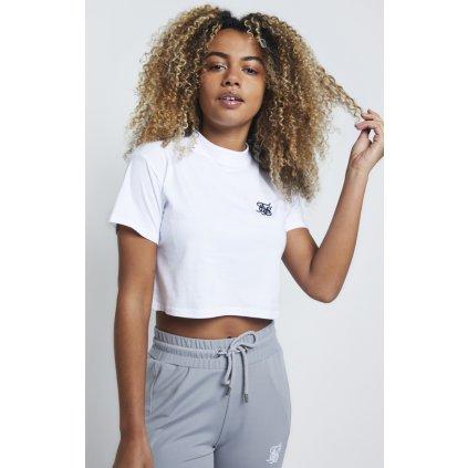 Dámske tričko SikSilk Retro Box Fit Crop white