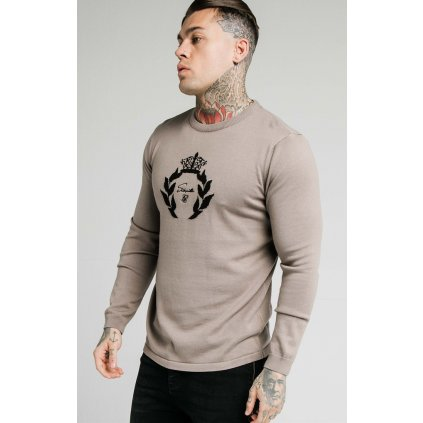 Pánsky sveter SikSilk High Neck Knitted Prestige grey