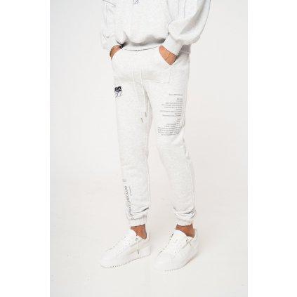 Pánske tepláky THE COUTURE CLUB Front Pocket Leg Print Slim grey