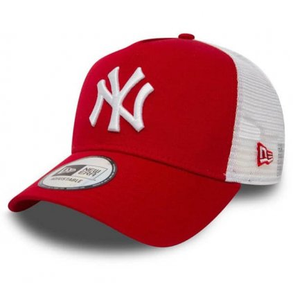 Šiltovka New Era 9Forty Trucker Clean NY Yankees Scarlet Red
