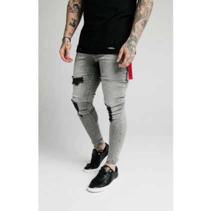 Pánske rifle SikSilk Distressed Flight snow wash