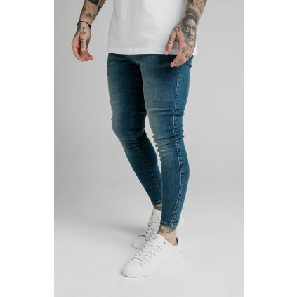 Pánske rifle SikSilk Skinny Denims blue