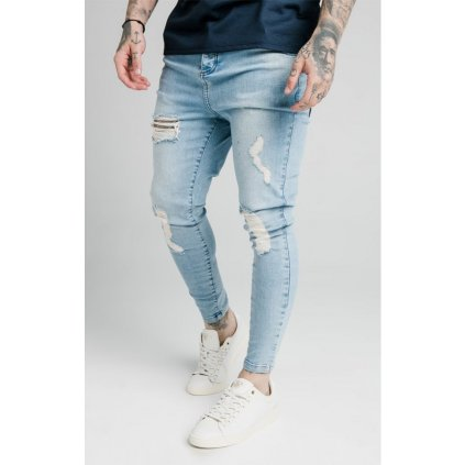 Pánske rifle SikSilk Low Rise washed blue