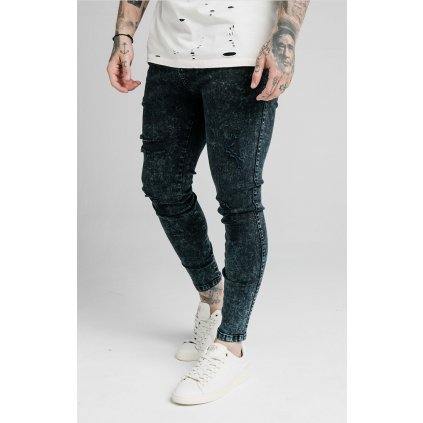 Pánske rifle SikSilk Distressed Skinny navy