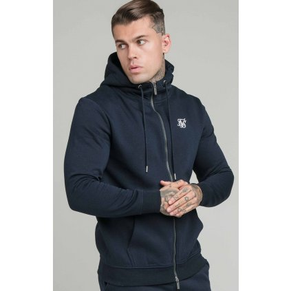 Pánska mikina SikSilk Zip Through Funnel navy