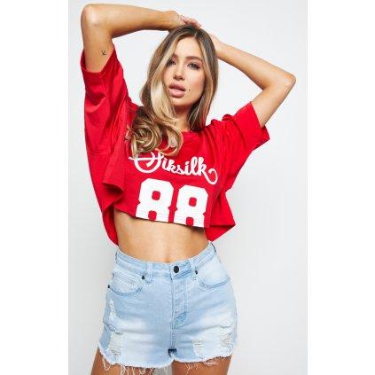 Dámske tričko SikSilk Retro Football Crop red