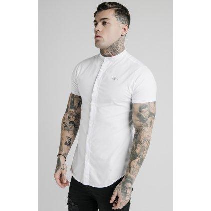 Pánska biela košeľa SikSilk Grandad Collar
