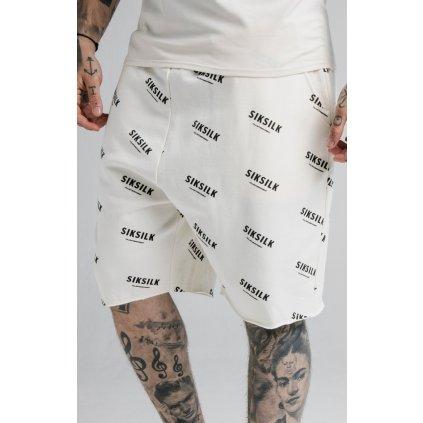 Pánske kraťasy SikSilk Repeat Print biele