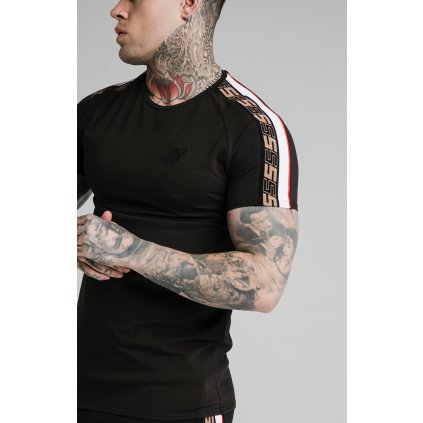 Pánske tričká SikSilk Jacquard Raglan čierne