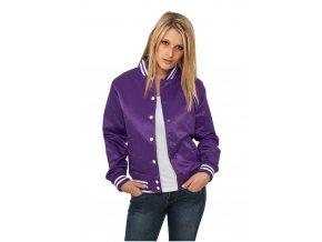 Dámska prechodná bunda URBAN CLASSICS Ladies Shiny College Jacket pur/wht (Veľkosť XS)