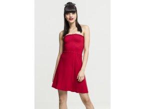 Dámske šaty URBAN CLASSICS Ladies Smoke Bandeau Dress červená (Veľkosť XS)