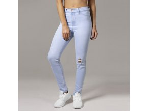 urban classics ladies high waist skinny denim pants lightblue 33101