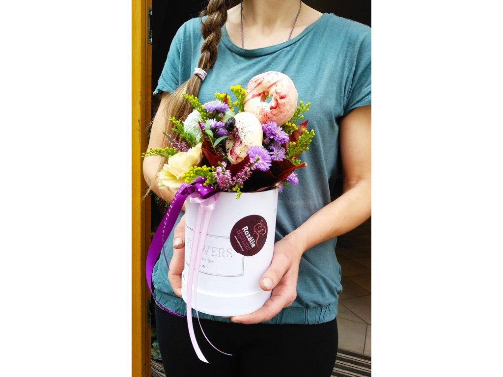 Flower box s donuty - červený