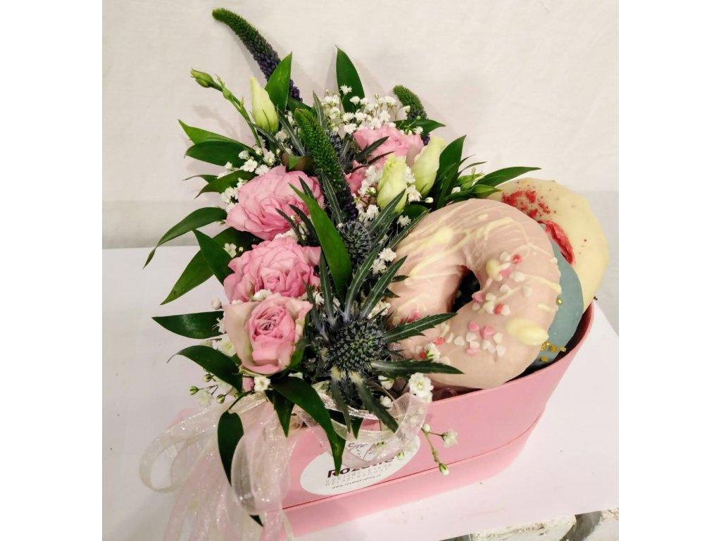 Flower box s donuty - růžový
