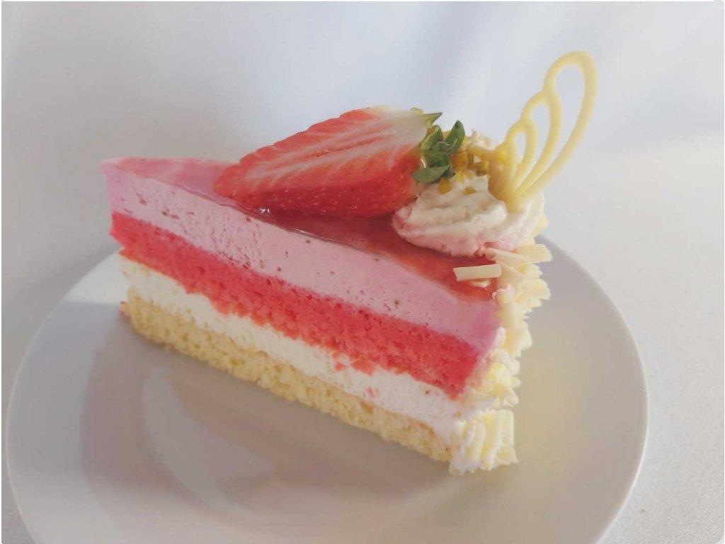 Marcipánovo-jahodový dortík