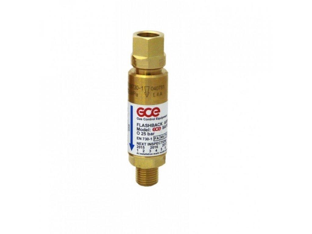 Pojistka proti šlehu Kyslík - za redukční ventil