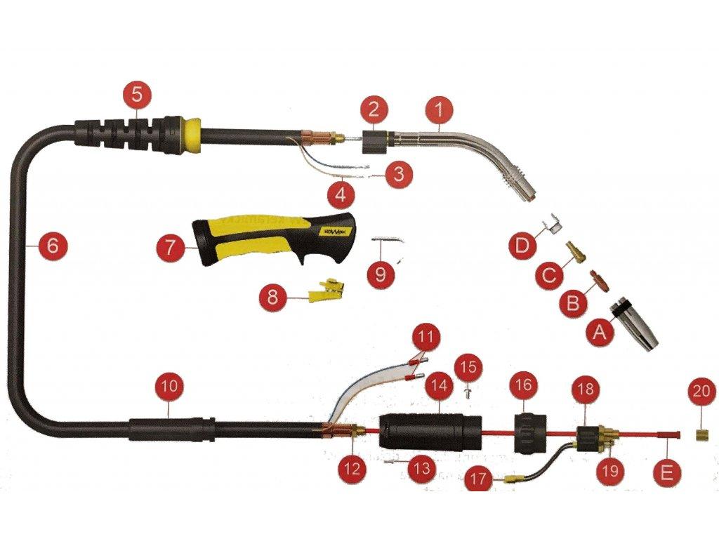 Náhradní díly pro svářecí hořák CO2 240A