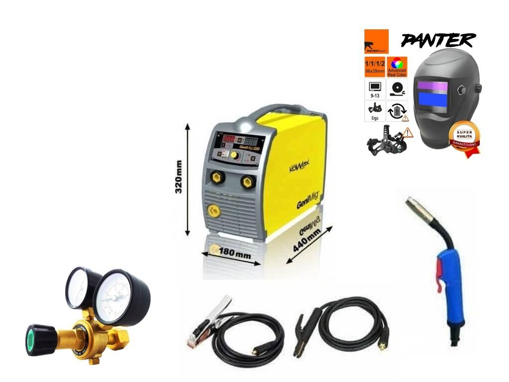 GeniMig 220 Varianta: SET 8: svářečka s výbavou v popisu stroje + RV CO2 + kukla eco Panter KWXSTGM220 výhodný SET - další příslušenství ZDARMA