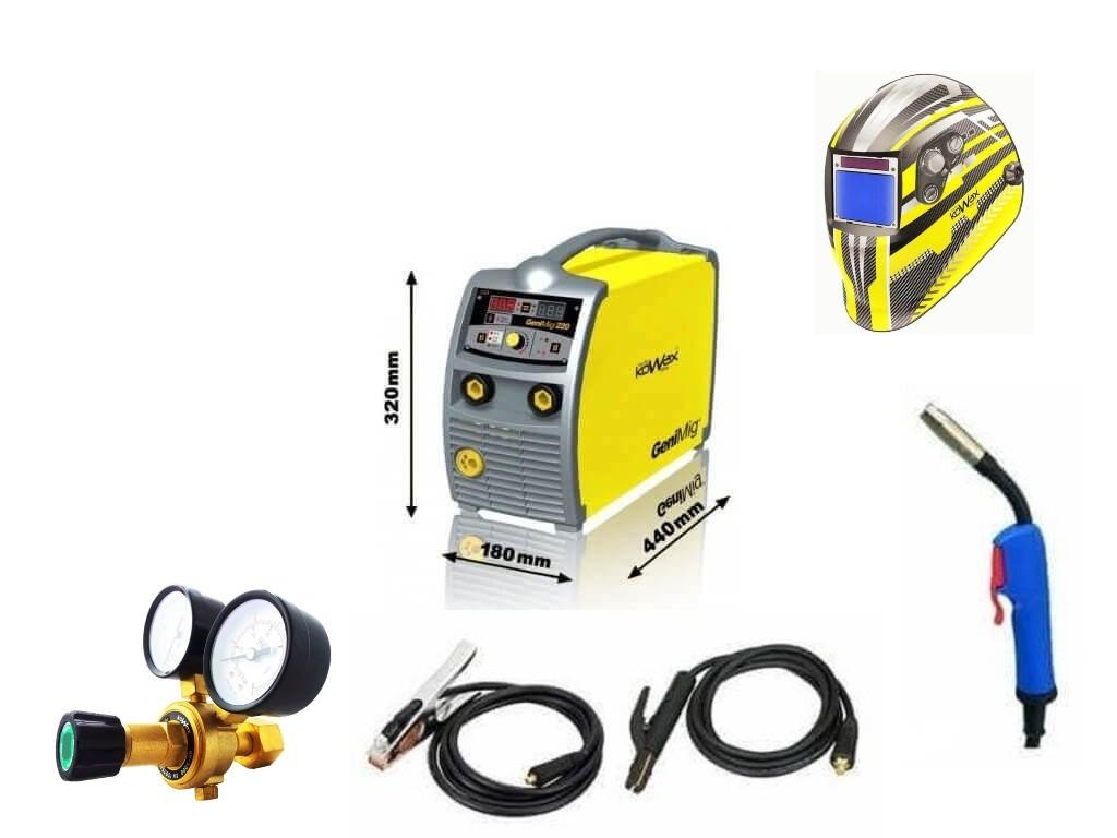 GeniMig 220 Varianta: SET 12: svářečka s výbavou v popisu stroje + RV CO2 + kukla expert 730ARC++ KWXSTGM220 výhodný SET - další příslušenství ZDARMA