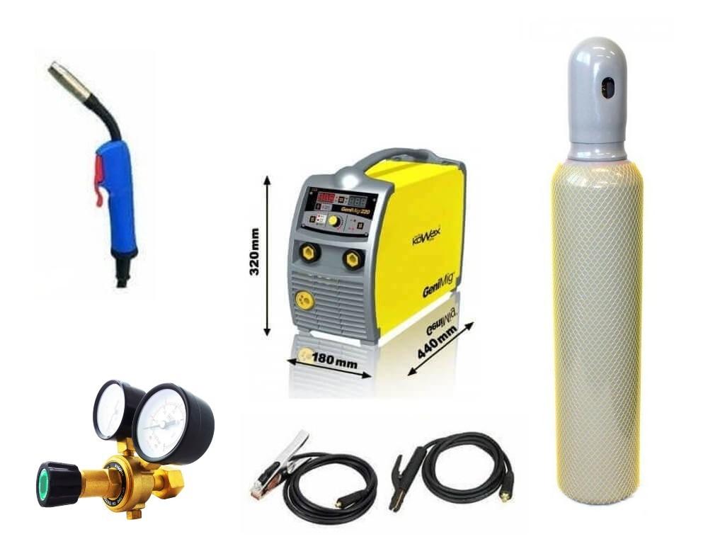 GeniMig 220 Varianta: SET 21: svářečka s výbavou v popisu stroje + RV CO2 + lahev CO2 plná KWXSTGM220 výhodný SET - další příslušenství ZDARMA