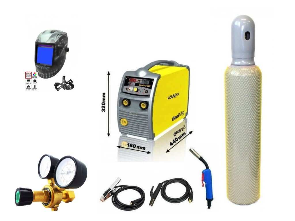 GeniMig 220 Varianta: SET 22: svářečka s výbavou v popisu stroje + kukla profi Predátor + RV CO2 + lahev CO2 plná KWXSTGM220 výhodný SET - další příslušenství ZDARMA