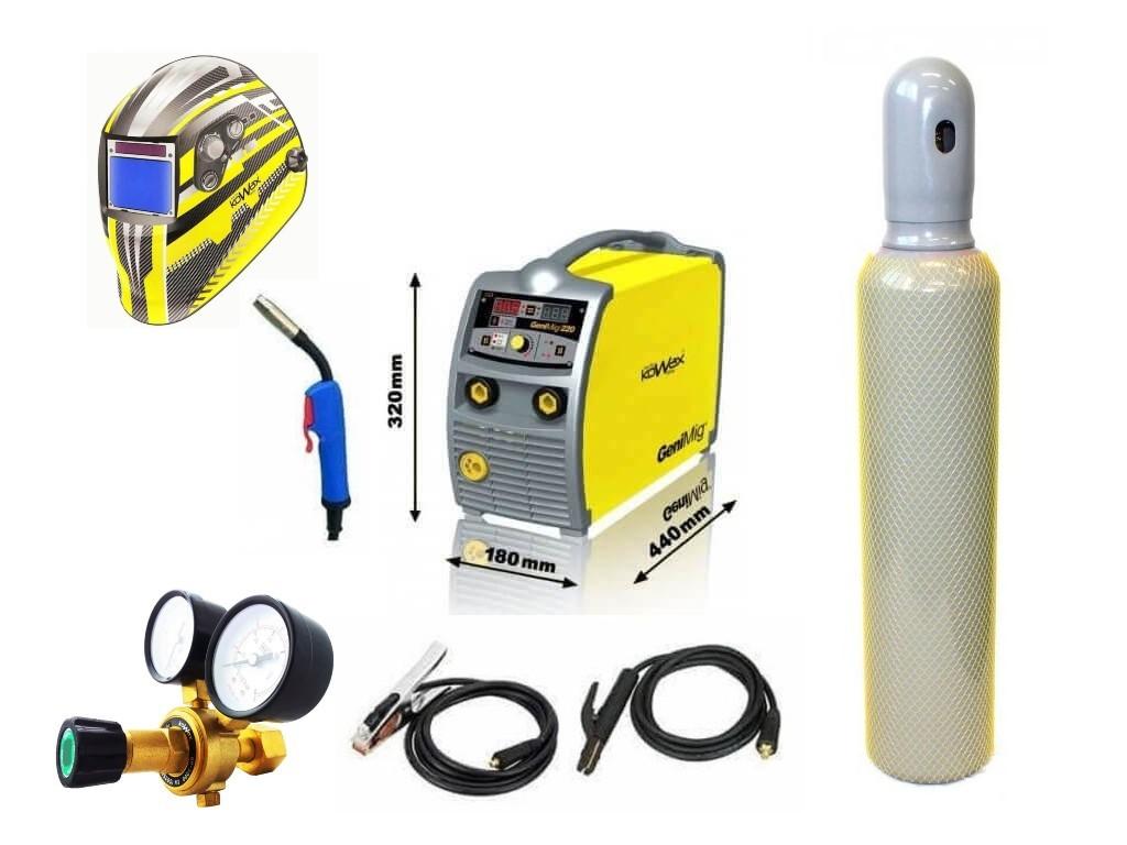 GeniMig 220 Varianta: SET 23: svářečka s výbavou v popisu stroje + kukla expert + RV CO2 + lahev CO2 plná KWXSTGM220 výhodný SET - další příslušenství ZDARMA