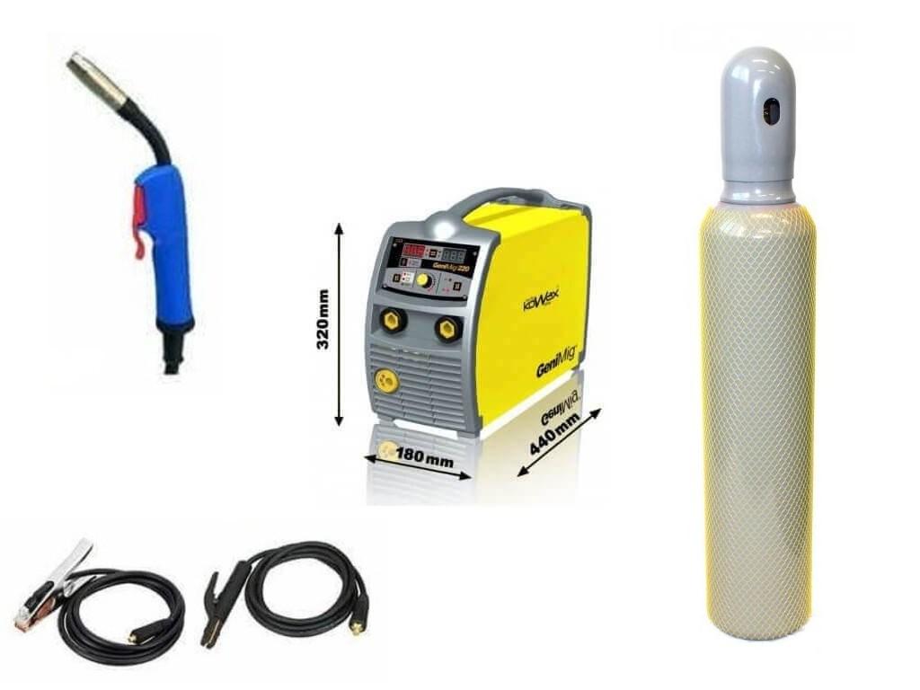 GeniMig 220 Varianta: SET 14: svářečka s výbavou v popisu stroje + lahev CO2 plná KWXSTGM220 výhodný SET - další příslušenství ZDARMA