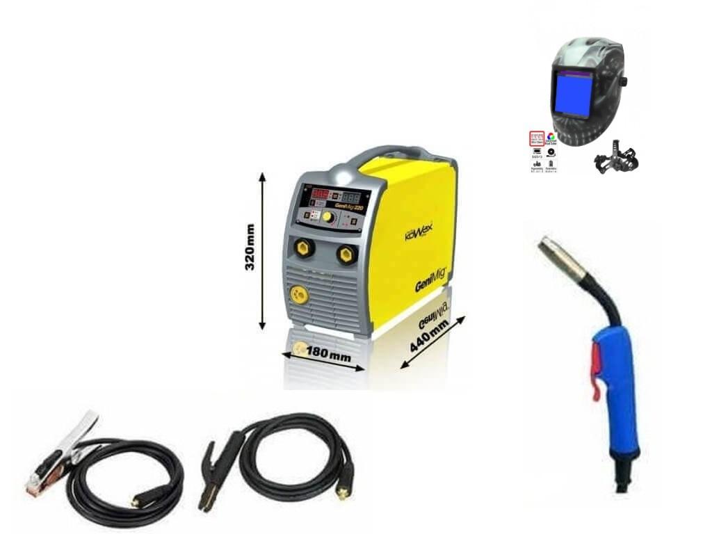 Svářečka na CO2 KOWAX GeniMig 220 Synergy - výhodný SET Varianta: SET 10: svářečka s výbavou v popisu stroje + RV CO2 + kukla profi Predátor KWXSTGM220 výhodný SET - další příslušenství ZDARMA