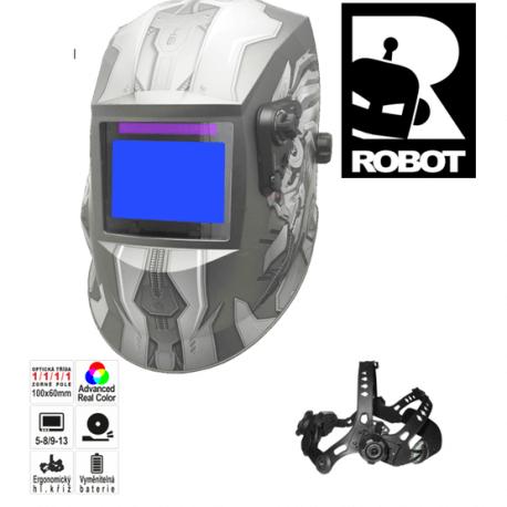 Pantermax Svářecí kukla stmívací - svářecí Robot KUKLARobot reálné barvy, náhradní fólie ZDARMA