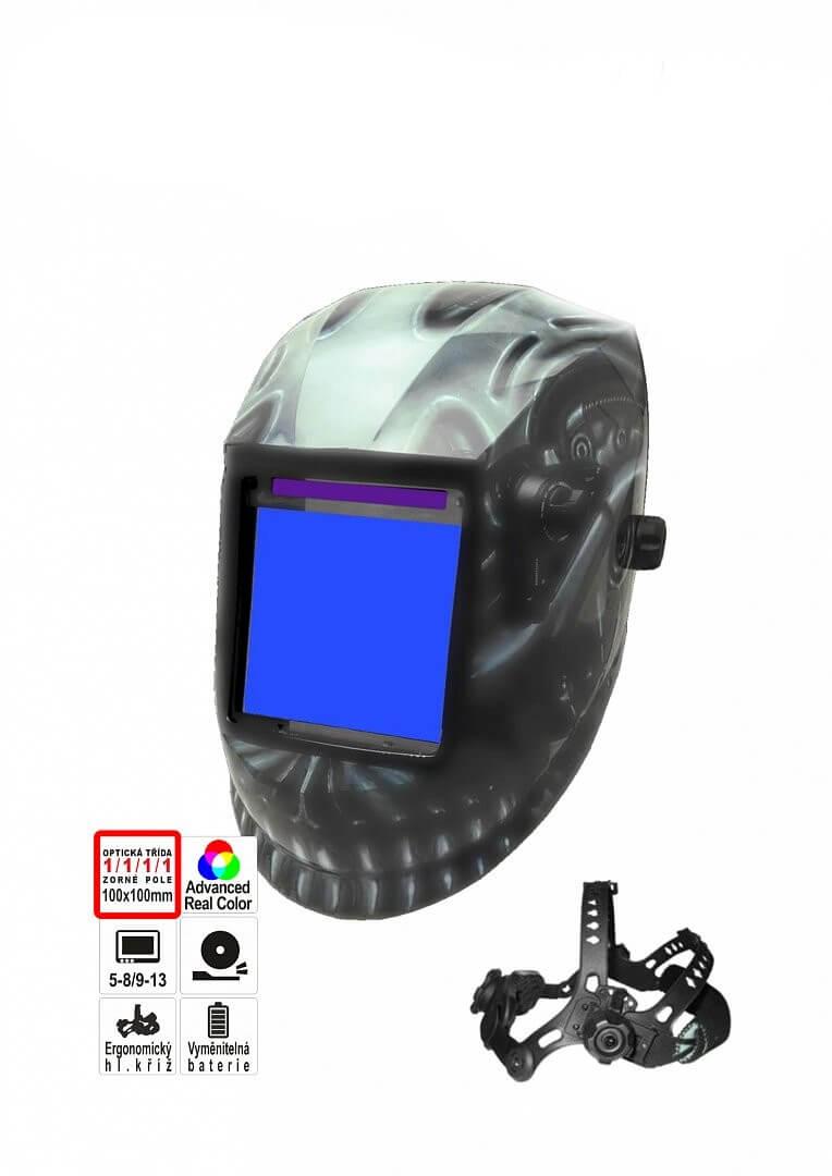 Proindustry Stmívací svářecí kukla PREDÁTOR reálné barvy, náhradní fólie ZDARMA