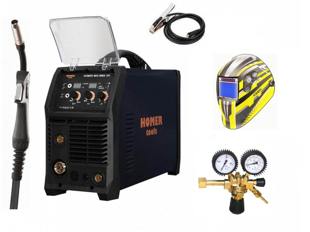 HOMER MIG MMA 181 Varianta: SET 12: svářečka s výbavou v popisu stroje + RV CO2 + kukla expert 730ARC++ výhodný SET - další příslušenství ZDARMA