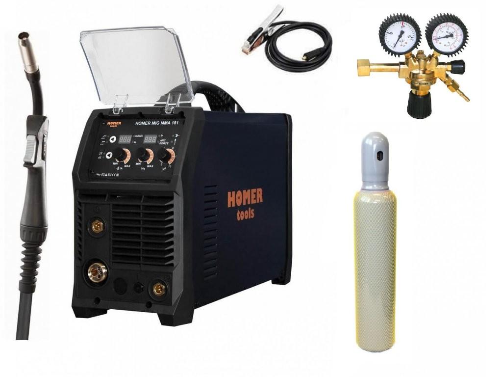 HOMER MIG MMA 181 Varianta: SET 21: svářečka s výbavou v popisu stroje + RV CO2 + lahev CO2 plná výhodný SET - další příslušenství ZDARMA