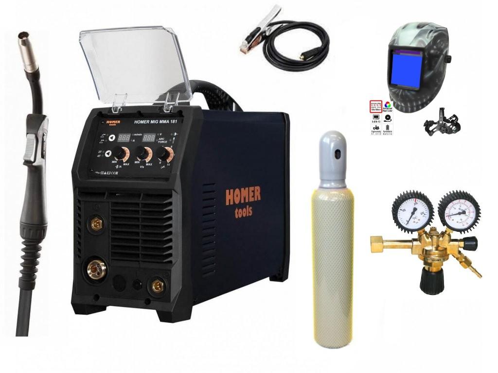 HOMER MIG MMA 181 Varianta: SET 22: svářečka s výbavou v popisu stroje + kukla profi Predátor + RV CO2 + lahev CO2 plná výhodný SET - další příslušenství ZDARMA