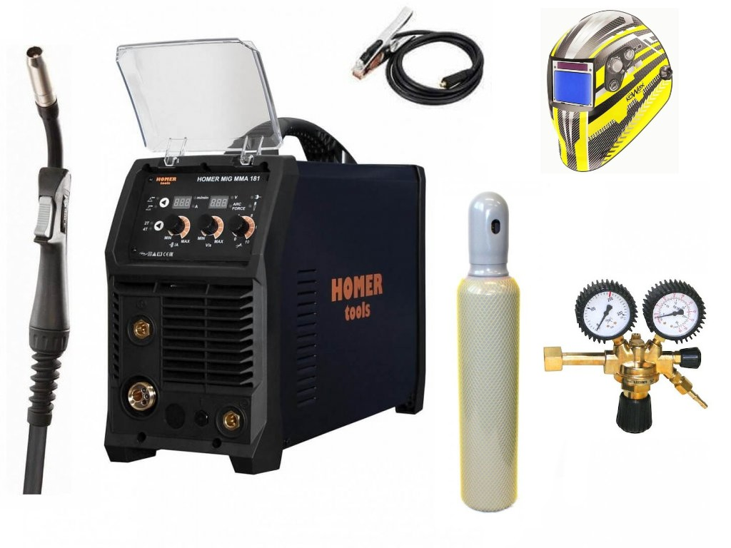 HOMER MIG MMA 181 Varianta: SET 23: svářečka s výbavou v popisu stroje + kukla expert + RV CO2 + lahev CO2 plná výhodný SET - další příslušenství ZDARMA